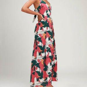 Isla Mujeres Pink Tropical Print Tie-Back Jumpsuit